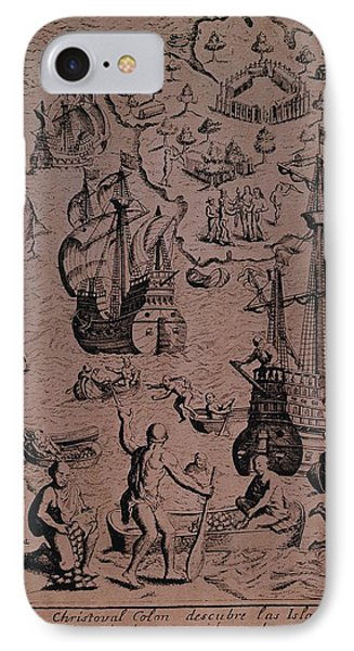 Christopher Colombus Discovering The Islands Of Margarita And Cubagua Where They Found Many Pearls Phone Case by Spanish School