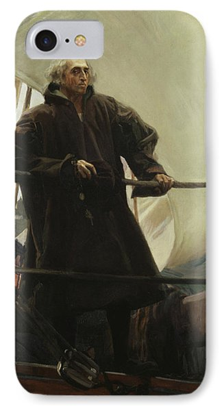 Christopher Columbus Leaving Palos IPhone Case by Joaquin Sorolla