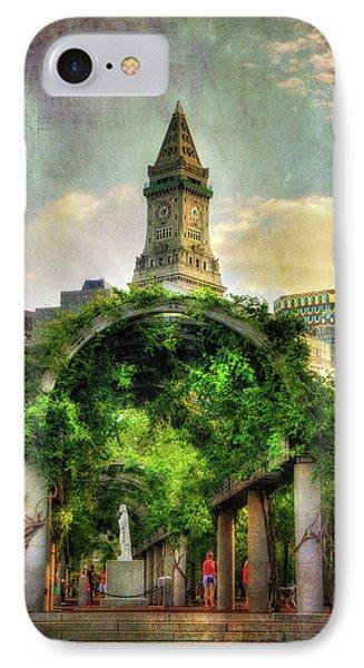 Christopher Columbus Park And The Custom House - Boston IPhone Case by Joann Vitali