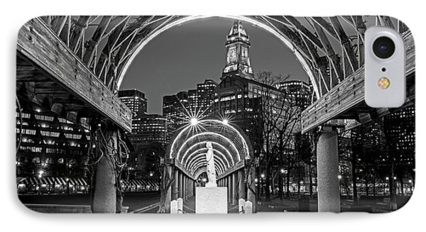Christopher Columbus Park Boston Ma Trellis Statue Black And White IPhone Case by Toby McGuire