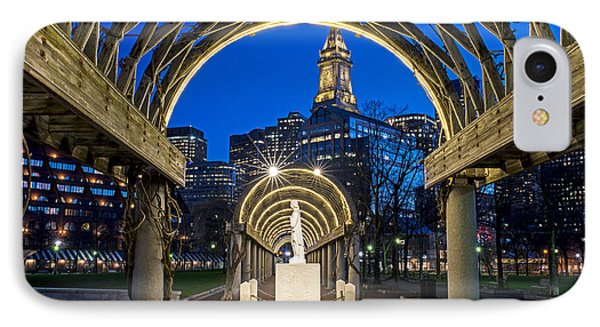 Christopher Columbus Park Boston Ma Trellis Statue IPhone Case by Toby McGuire