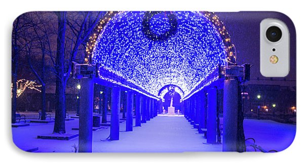 Christopher Columbus Park Trellis Lit Up For Christmas Snowstorm Boston Ma Bench IPhone Case by Toby McGuire