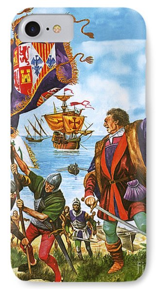 Christopher Columbus Planting The Spanish Royal Standard On The Newly Found Land Of America IPhone Case by Peter Jackson