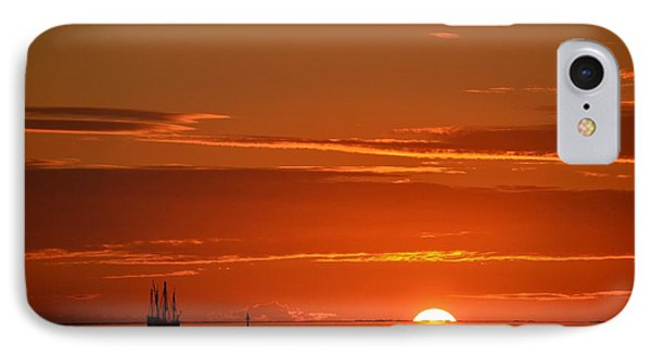 Christopher Columbus Replica Wooden Sailing Ship Nina Sails Off Into The Sunset Phone Case by Jeff at JSJ Photography