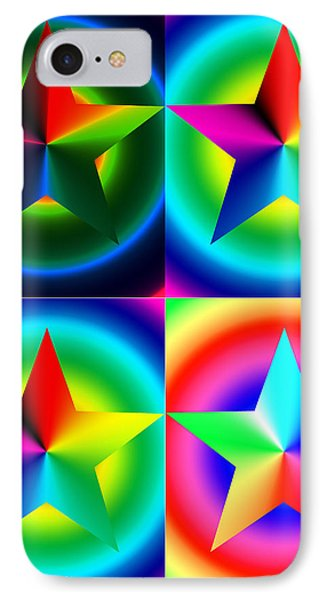 Chromatic Star Quartet With Ring Gradients Phone Case by Eric Edelman