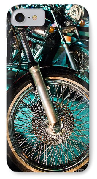 Chrome Rim And Front Fork Of Vintage Style Motorcycle IPhone Case by Jason Rosette
