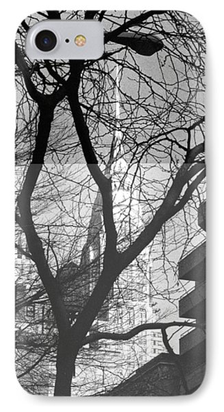 Chrysler Building And Tree IPhone Case by Dave Beckerman