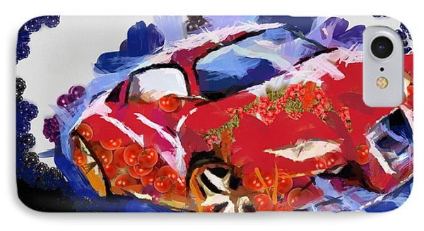 IPhone Case featuring the painting Chubby Car Red by Catherine Lott
