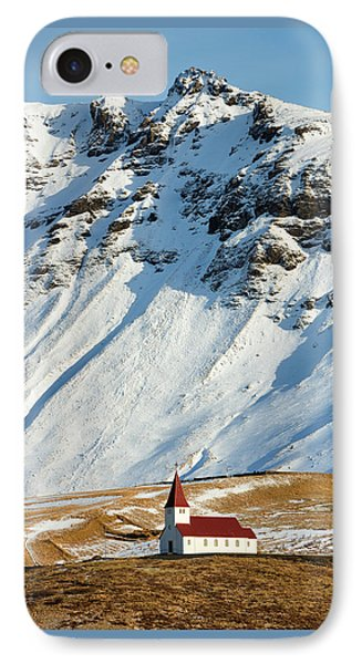 IPhone Case featuring the photograph Church And Mountains In Winter Vik Iceland by Matthias Hauser
