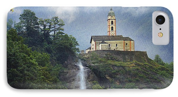 Church And Waterfall In Italy IPhone Case