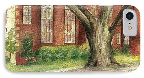 IPhone Case featuring the painting Church Tree by Denise Fulmer