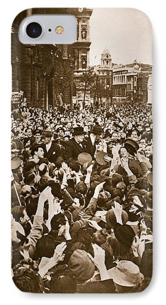 Churchill Mobbed In Whitehall On Ve Day IPhone Case by English School