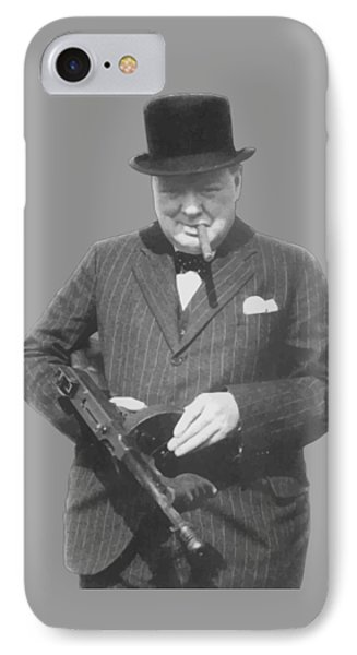 Churchill Posing With A Tommy Gun Phone Case by War Is Hell Store