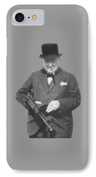Celebrities iPhone 7 Case - Churchill Posing With A Tommy Gun by War Is Hell Store