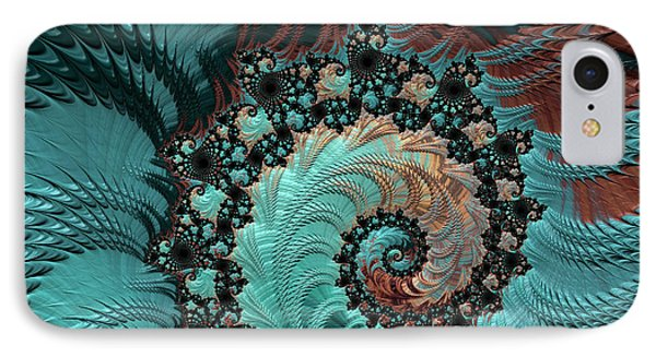 IPhone Case featuring the digital art Churning Sea Fractal by Bonnie Bruno