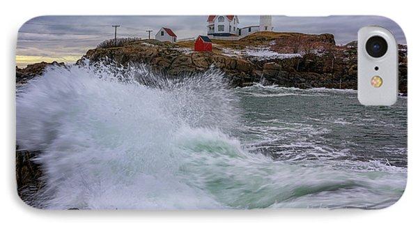 Churning Seas At Cape Neddick IPhone Case by Rick Berk