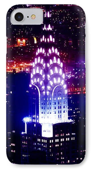 Chrysler Building iPhone 7 Case - Chyrsler Lights by Az Jackson