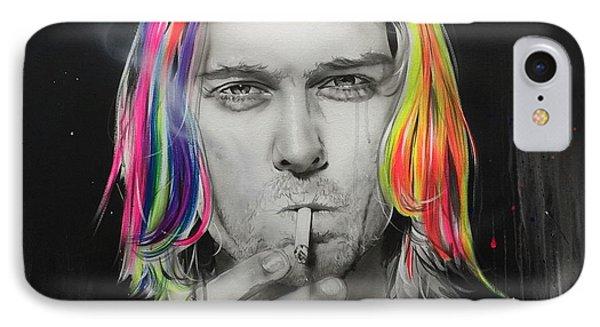 Kurt Cobain - ' Cigarette Burns ' IPhone Case by Christian Chapman Art