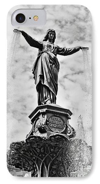 Cincinnati Fountain Tyler Davidson Genius Of Water Statue Phone Case by Paul Velgos