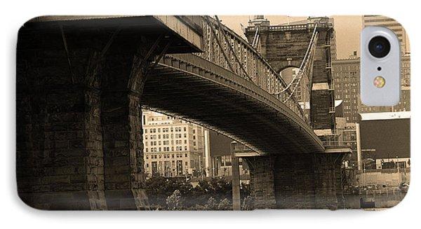 Cincinnati - Roebling Bridge 2 Sepia IPhone Case by Frank Romeo