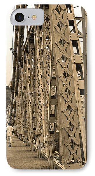 Cincinnati - Roebling Bridge 3 Sepia IPhone Case by Frank Romeo