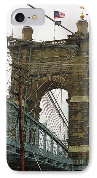 Cincinnati - Roebling Bridge 4 IPhone Case by Frank Romeo
