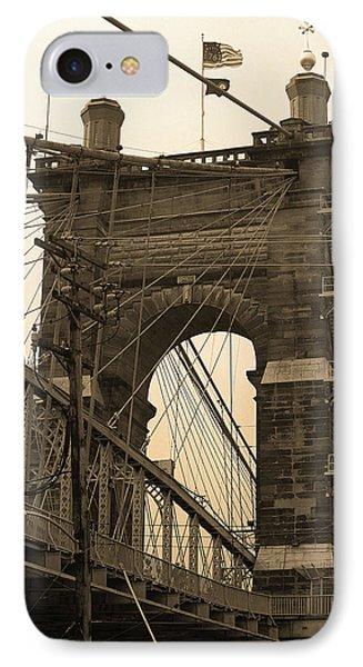 Cincinnati - Roebling Bridge 4 Sepia IPhone Case by Frank Romeo