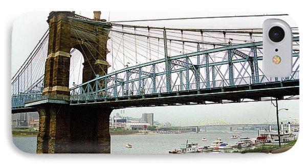 Cincinnati - Roebling Bridge 5 IPhone Case by Frank Romeo