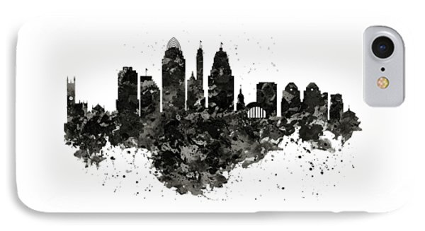 IPhone Case featuring the mixed media Cincinnati Skyline Black And White by Marian Voicu