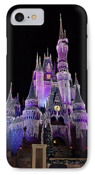 Cinderellas Castle At Night Phone Case by Carmen Del Valle