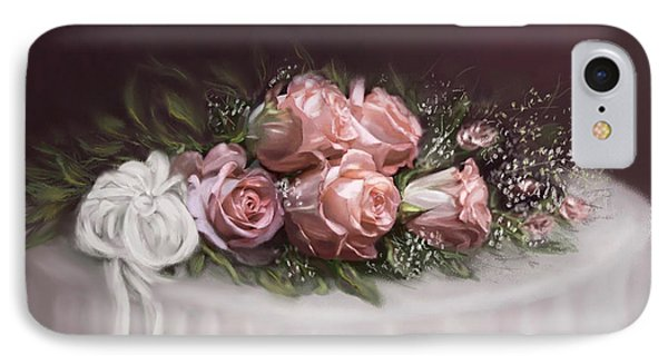 IPhone Case featuring the painting Spray Of  Roses by Bonnie Willis