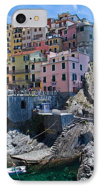 Cinque Terre Harbor And Town IPhone Case by Roger Mullenhour
