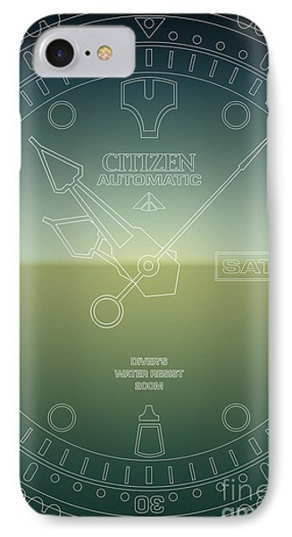 Citizen Automatic Divers Watch Outline Poster IPhone Case by Monkey Crisis On Mars