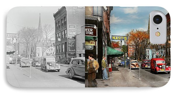 IPhone Case featuring the photograph City - Amsterdam Ny - Downtown Amsterdam 1941- Side By Side by Mike Savad