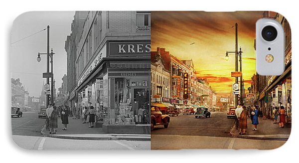 IPhone Case featuring the photograph City - Amsterdam Ny - The Lost City 1941 - Side By Side by Mike Savad