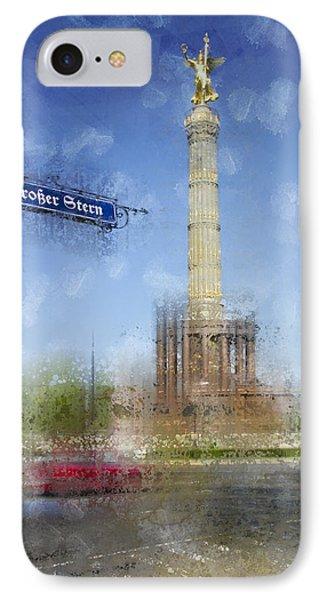 City-art Berlin Victory Column IPhone Case by Melanie Viola