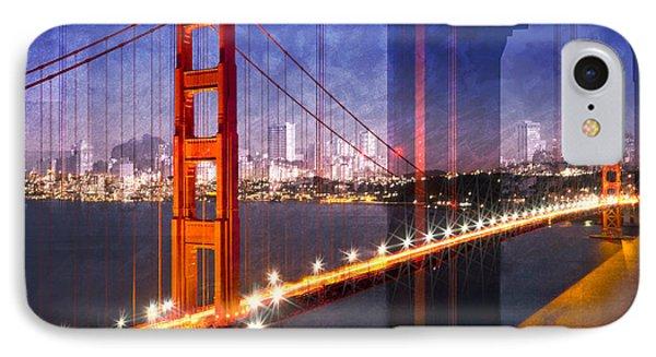 City Art Golden Gate Bridge Composing IPhone Case by Melanie Viola