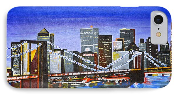IPhone Case featuring the painting City At Twilight by Donna Blossom