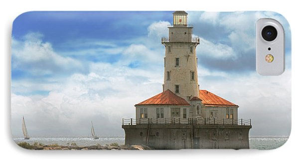 City - Chicago Il - Chicago Harbor Lighthouse IPhone Case by Mike Savad
