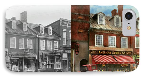City - Easton Md - A Slice Of American Life 1936 - Side By Side IPhone Case by Mike Savad