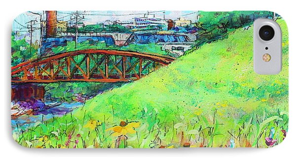 IPhone Case featuring the painting City Fields by Les Leffingwell