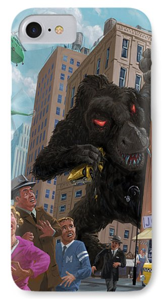 IPhone Case featuring the digital art City Invasion Furry Monster by Martin Davey