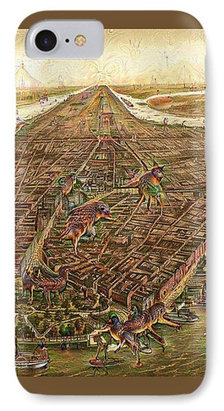 City Map New York Manhattan 1870 Deep Dream IPhone Case by Matthias Hauser