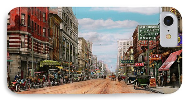 City - Memphis Tn - Main Street Mall 1909 IPhone Case by Mike Savad
