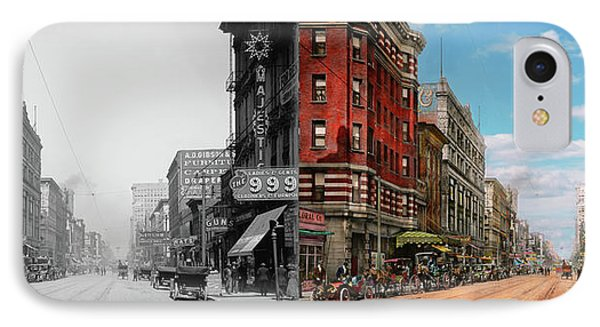 City - Memphis Tn - Main Street Mall 1909 - Side By Side IPhone Case by Mike Savad