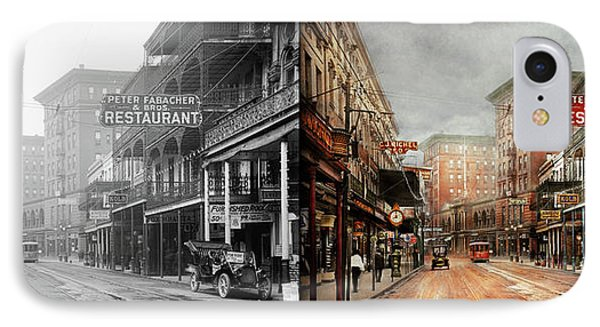 City - New Orleans - A Look At St Charles Ave 1910 - Side By Side IPhone Case by Mike Savad