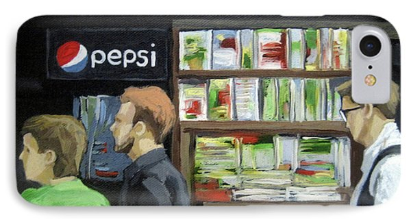 IPhone Case featuring the painting City Newsstand - People On The Street Painting by Linda Apple