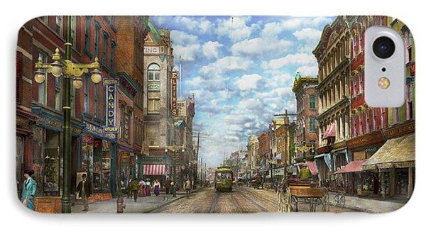 City - Ny - Main Street - Poughkeepsie Ny - 1906 IPhone Case by Mike Savad