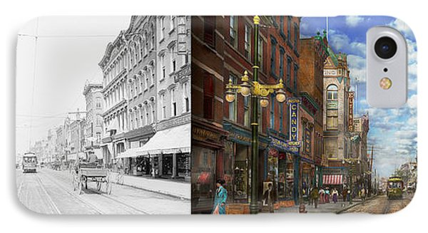 City - Ny - Main Street Poughkeepsie Ny - 1906 - Side By Side IPhone Case by Mike Savad