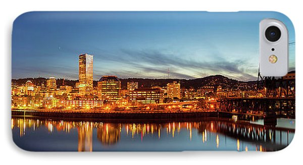 City Of Portland Skyline Blue Hour Panorama Phone Case by David Gn